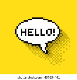 Bubble greeting with Hi!, flat pixelated illustration. - Stock vector