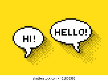 Bubble greeting with Hi! and Hello!, flat pixelated illustration. - Stock vector