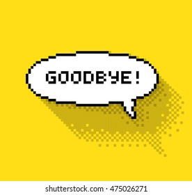 """Bubble greeting with """"So Long!"""" phase, flat pixel illustration. - Stock vector"""