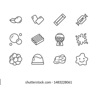 Bubble gum flat line icons set. Chewing candy in stick, pads, bubblegum pack, slime blob vector illustrations. Outline signs for sweets store. Pixel perfect. Editable Strokes.