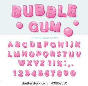 Bubble Gum Font Design Sweet ABC Letters And Numbers