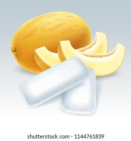 Bubble gum with honeydew melon flavor. Chewing pads with fresh melon friut. Vector illustration.