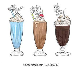 bubble gum milkshake vector