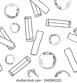 Bubble gum seamless pattern. Hand drawn doodle chewing gums. Black and white vector illustration