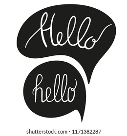 Bubble with hello quote. Hand drawn lettering. Vector illustration.