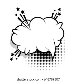 Bubble icon speech phrase. Cartoon funny label tag expression. Sound boom explosion effects. Advertising vector halftone dot illustration. Cloud empty white comic book text balloon pop art.