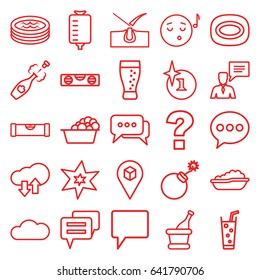 Bubble icons set. set of 25 bubble outline icons such as level ruler, baby bath, shave hair in skin, explosion, soap, laundry, soda, drop counter, location, chat