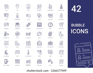 bubble icons set. Collection of bubble with soap, pin, bubbles, champagne, chat, detergent, location, message, markers, marker, watercolor. Editable and scalable bubble icons.