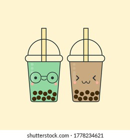 Bubble milk green tea and bubble milk tea, boba tea cute character