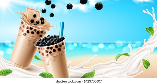 Bubble milk tea ads with delicious tapioca and splashing milk on bokeh ocean background in 3d illustration