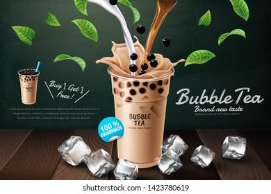 Bubble milk tea ads with delicious tapioca on blackboard background in 3d illustration