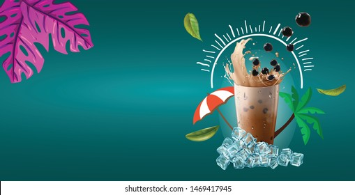 Bubble milk tea ads with delicious tapioca and pearl pouring into glass cup 3d illustration.
