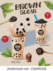 Bubble milk tea ads with delicious tapioca and pearl pouring into . 3d illustration.