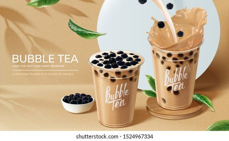 Bubble milk tea ads with pouring milk in 3d illustration