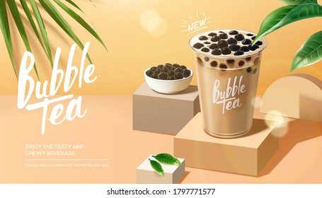 Bubble milk tea advertisement with leaves elements on summer background in 3d illustration