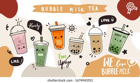 Bubble milk tea cup design collection,Pearl milk tea , Yummy drinks, coffees and soft drinks with doodle style banner and sale poster. - Vector illustration.
