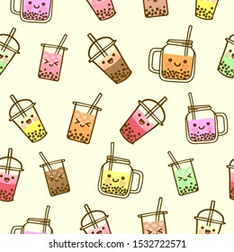 Bubble milk tea funny seamless pattern. Hand drawn kawaii smiled drinks with tapioca pearls. Cute cartoon vector illustration. Colorful background with ice tea characters.