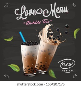 Bubble milk tea menu ads with delicious tapioca and pearl pouring into glass cup 3d illustration.