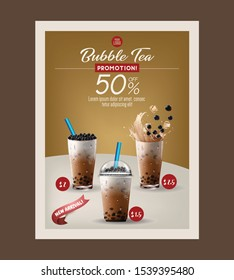 Bubble milk tea menu and poster ads with delicious tapioca and pearl pouring into glass cup 3d illustration. Vector.