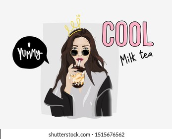 Bubble milk tea poster with girl and crown typography slogan yummy and cool milk tea, Taiwan milk tea banner and advertisement and t-shirt template -vector