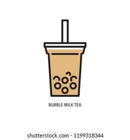Bubble milk tea, simple flat design. Isolate on white background.