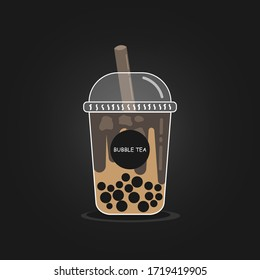 The bubble milk tea.Black pearl milk tea with chocolate is famous drink large size and small cup vector.