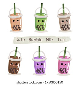 The bubble milk tea.Black pearl milk tea is famous drink many cup vector. Cute face bubble milk tea.