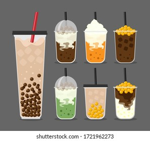 Bubble Milk Tea,Bubble Green Milk Tea,Bubble Milk Tea,Bubble Cocoa,Black pearls,Golden pearls,Golden Bubble, Large size and small cup vector illustration