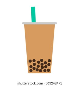 Bubble / pearl milk tea or boba flat vector color icon for food apps and websites