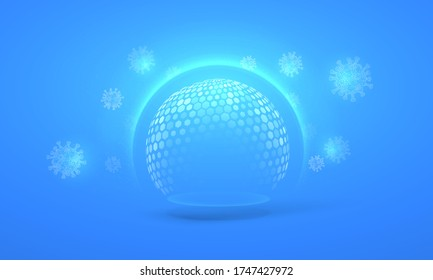 Bubble shield virus and infection protection vector illustration on a blue background. The sphere in the form of a force energy field or barrier is protected from external factors in an abstract style