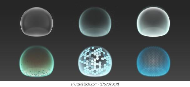 バブルシールド、保護力フィールド。 グレイの背景にグリッドパターンを持つ透明な球体での安全エネルギーバリアのベクター画像のリアルなセット、セキュリティの防御
