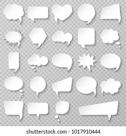 Bubble speech set. Various empty shapes. Vector illustration.