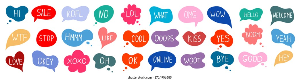 Bubble talk phrases hand draw big set . Online chat clouds with different words comments information shapes vector isolated on white background.  Stock illustration