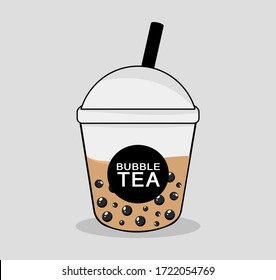 The bubble tea with back pearls is Taiwanese famous drinking vector design