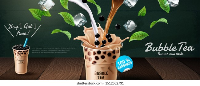 Bubble tea banner ads with pouring milk and green leaves, 3d illustration
