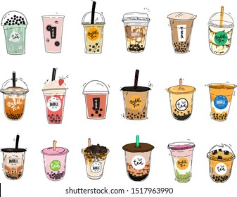 Bubble tea cup design collection, Pearl milk tea, Taiwan milk tea,Yummy drinks, coffees and soft drinks with doodle style set. - Vector