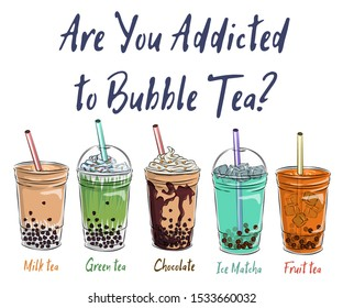 Bubble tea cup design collection, Yummy drinks, soft drinks with doodle style banner, Bubble milk tea ads with delicious tapioca and pearl, bubble tea menu graphic template