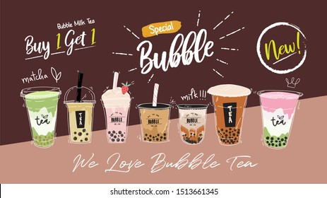 Bubble tea cup design collection,Pearl milk tea , Yummy drinks, coffees and soft drinks with doodle style banner, Advertising design template . - Vector