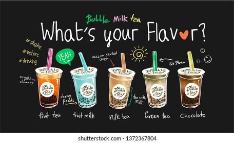 bubble tea flavors illustration with slogan