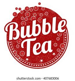 Bubble tea grunge rubber stamp on white background, vector illustration