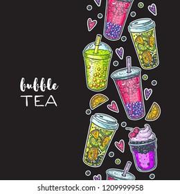 Bubble tea hand drawn illustration. Cocktail collection. Bubble tea vector illustration. Drink set. Design template.