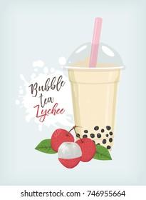Bubble tea Lychee vector