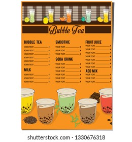 bubble tea menu graphic template