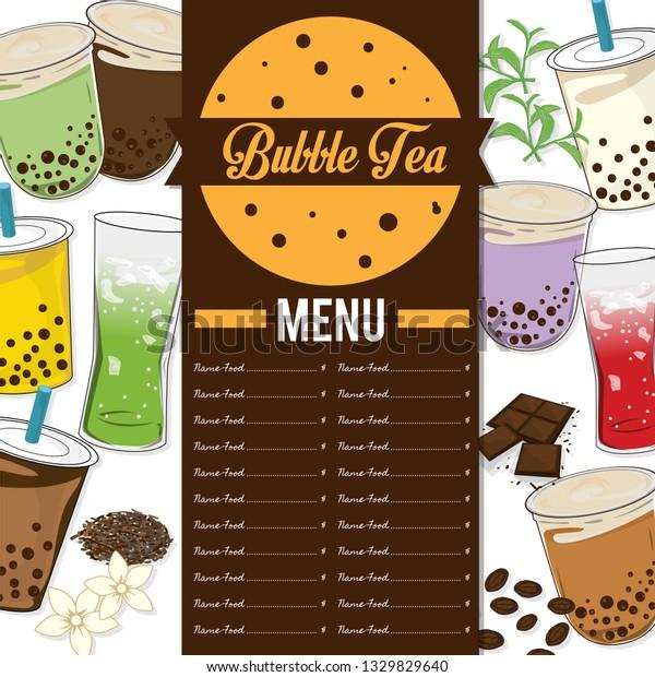 Bubble Tea Menu Graphic Template Stock Vector (Royalty ...