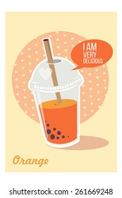 Bubble Tea or Milk Cocktail. Glass of drink with tubule. Vector. Retro illustration of orange bubble tea or milkshake on orange background. Can be used for greeting cards, party invitations or menu.