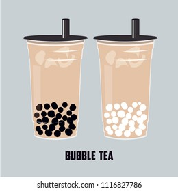 The Bubble Tea, Pearl milk tea, black and white pearls is Taiwanese famous and popular drink vector .