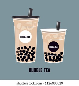 The Bubble Tea, Pearl milk tea, black pearls is Taiwanese famous and popular drink large size and small cup vector .