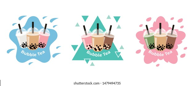 The Bubble Tea, Pearl milk tea, black and white pearls is Taiwanese famous and popular drink large size and small cup vector.