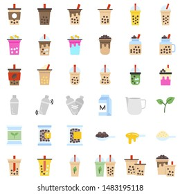 Bubble tea or Pearl milk tea related flat icon set, vector illustration