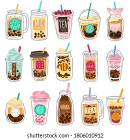 Bubble tea. Plastic cups with famous summer bubble asian tea, popular taiwanese pearl milk with balls, soft boba drinks with delicious tapioca sweet cold liquid dessert cartoon vector isolated set
